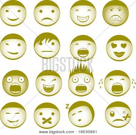 Collection of vector smilies with different expressions