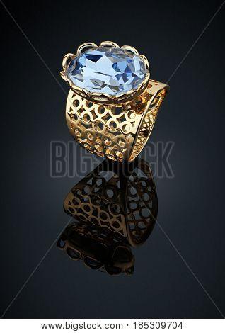 Golden ring whith big aquamarine on black background