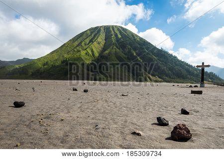 Mount Batok Volcanoes In Bromo Tengger Semeru National Park, East Java, Indonesia.