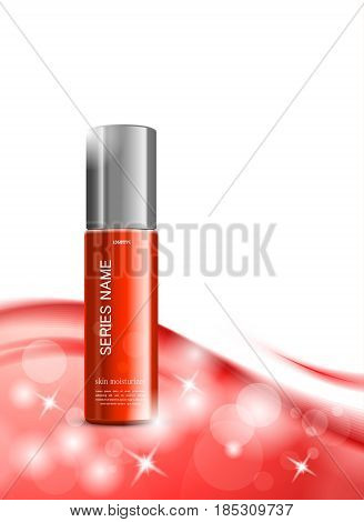 Skin moisturizer cosmetic ads template with red realistic package on light wavy elegant soft dynamic lines background. Vector illustration