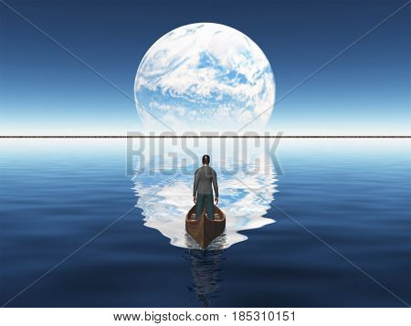 Man in a boat floats toward green horizon. Planet rise over horizon.   3D rendering  Some elements provided courtesy of NASA