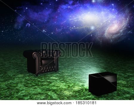 Surrealism. Armchair and TV in endless space.   3D rendering  Some elements provided courtesy of NASA