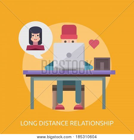 Long Distance Relationship Conceptual Design | Great flat illustration concept icon and use for valentine, romance, holiday and much more.