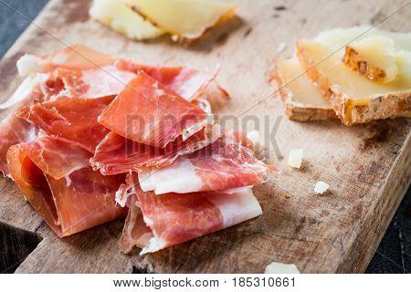 Spanish Ham Jamon Serrano Or Italian Prosciutto Crudo And Sliced Italian Hard Cheese Pecorino Toscan