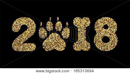 Vector golden glitter numbers 2018 with zero as dog paw print and one in bone shape next new year calendar front page design