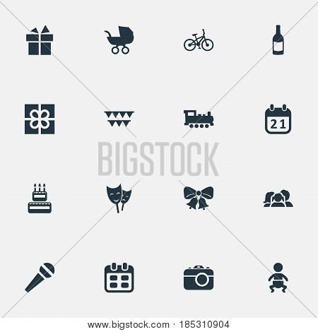 Vector Illustration Set Of Simple Holiday Icons. Elements Train, Box, Domestic And Other Synonyms Day, Fizz And Stroller.