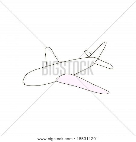 Airplane outline icon black line simple plane icon on whote background