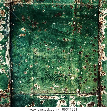 Green texture - old wooden door square image