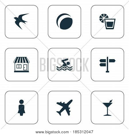 Vector Illustration Set Of Simple Seaside Icons. Elements Store, Beach Games, Airplane And Other Synonyms Airplane, Man And Trip.
