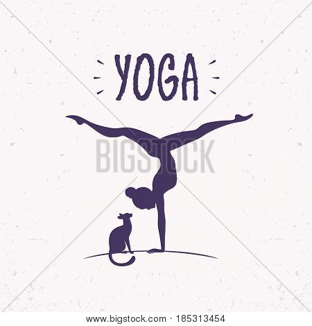 Amazing silhouette woman practicing yoga with cat and sample text. Handstand. Vector illustration