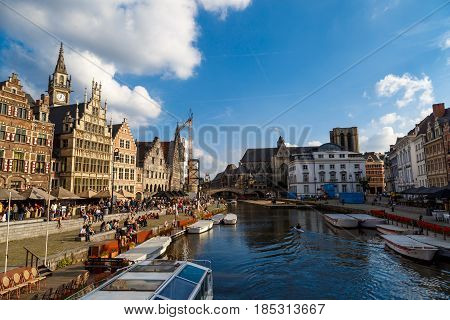 Boat Tours For Tourists In Ghent Canal