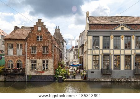 Buildings In Ghent Canal Leie River