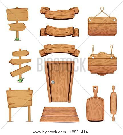 Vector illustration of wooden signboards, doors, plates and other different shapes with wood texture. Wooden board and door, signboard and wooden banner plank