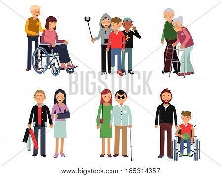 Disabled person with his helpful friends or volunteers. Vector flat style illustration of humans. Help and care for disabled people. Help for invalid character in wheelchair