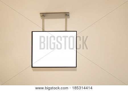 Blank white signage mockup, information display mock up hanging on the ceiling