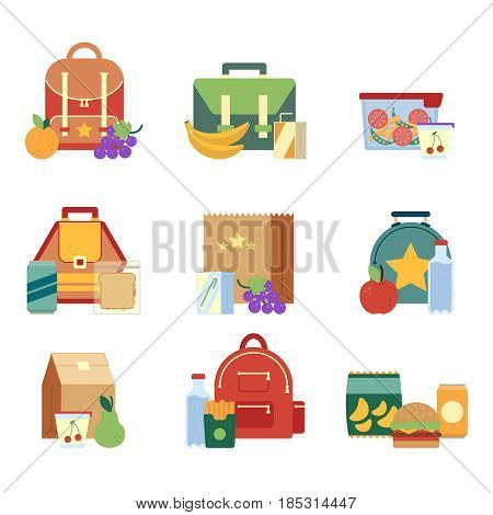 Lunch box and bag with healthy food for kids. Vector illustrations in flat style. Pictures isolate on white background. Lunch bag of set, snack and drink for lunch