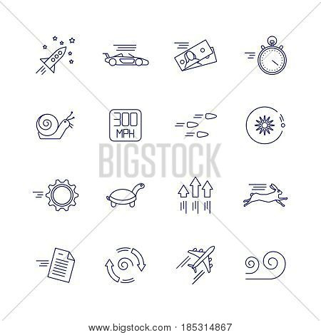 Motion and speed linear icons. Slow and fast vector signs. Velocity speed line icon, illustration of speed vehicle and animal