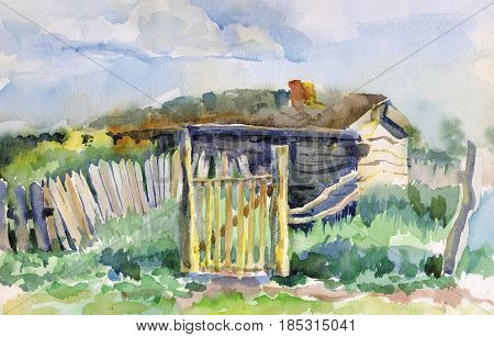 Old abandoned house with a sagging fence