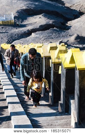 East Java,indonesia-may 05 : Tourists Hiking To Mount Bromo,the Active Mount Bromo Is One Of The Mos