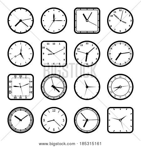 Digital wall clock faces, time vector icons set. Collection of clock equipment, illustration of clocks set