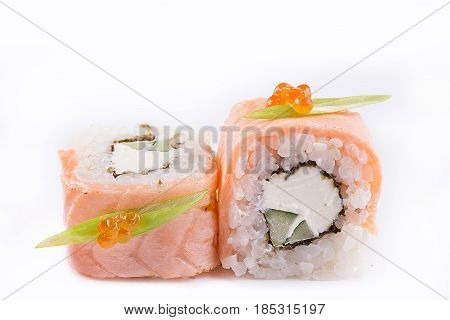 Japanese Cuisine, Sushi Set: Salmon Roll With Cheese And Cucumber On A White Background