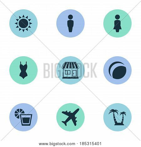 Vector Illustration Set Of Simple Beach Icons. Elements Male, Beach Games, Airplane And Other Synonyms Lady, Trip And Missus.