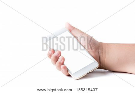 Mobile Phone In Boy Hand With White Blank Touchscreen
