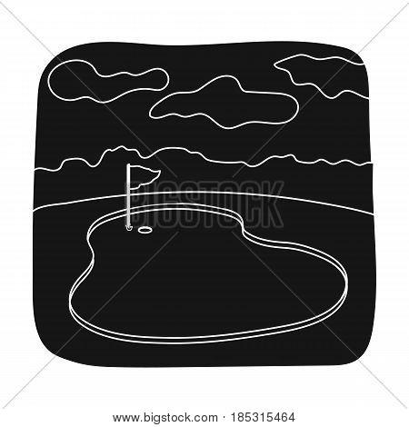 Golf course.Golf club single icon in black style vector symbol stock illustration .