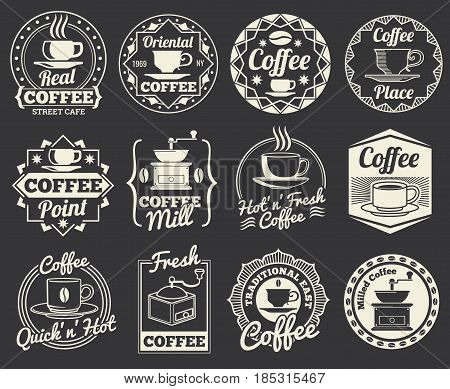 Vintage coffee shop and cafe logos, badges and labels. Coffee place emblem, illustration of label or logo for coffee shop