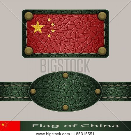 Label of a flag of China. Set stylized as leather of objects.