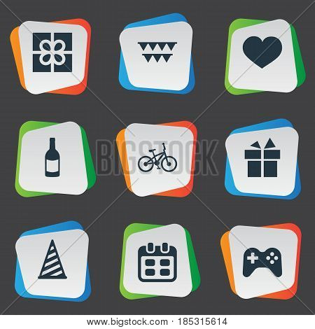 Vector Illustration Set Of Simple Birthday Icons. Elements Cap, Beverage, Ribbon And Other Synonyms Cap, Bicycle And Days.