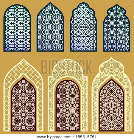 Islamic windows and doors with arabian art ornament pattern vector set. Window and door in islamic pattern style