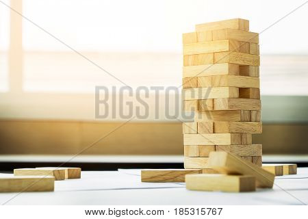 The Blocks Wood Tower Game With Architectural Engineer Plans Or Blue Prints Compasses ,pencils And R