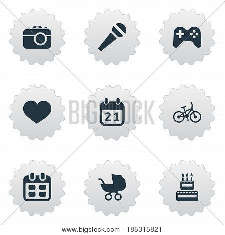 Vector Illustration Set Of Simple Birthday Icons. Elements Speech, Days, Special Day And Other Synonyms Baby, Sweetmeat And Microphone.