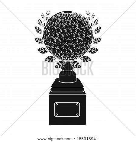 Cup for winning a golf tournament.Golf club single icon in black style vector symbol stock illustration .