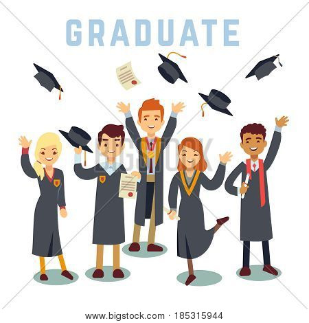 University young graduate students. Graduation and education vector concept. Academic student group, illustration of students man and woman with diploma