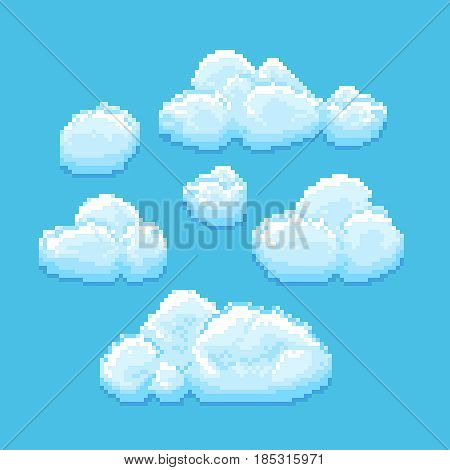 Sky with clouds vector pixel art. Cloudscape background for retro game. Pixel cartoon clouds, illustration of aerial vintage cloud