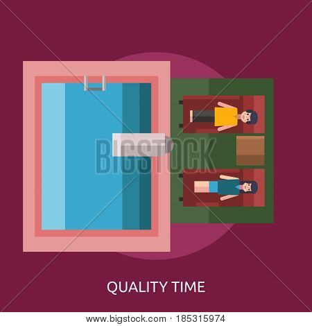 Quality Time Conceptual Design   Great flat illustration concept icon and use for valentine, romance, holiday and much more.