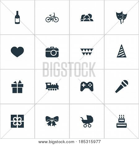 Vector Illustration Set Of Simple Birthday Icons. Elements Speech, Baby Carriage, Beverage And Other Synonyms Resonate, Steam And Feelings.
