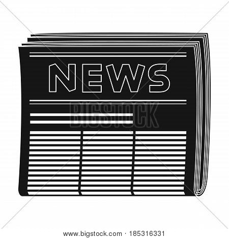 Newspaper.Mail and postman single icon in black style vector symbol stock illustration .