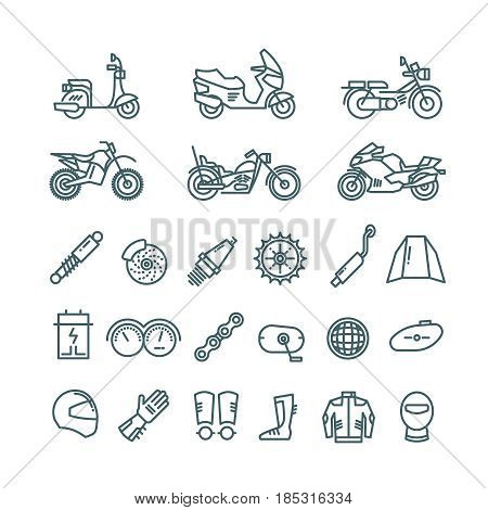 Motorcycle, auto parts and motorbike accessories vector line icons. Motorbike linear design, illustration of part for motorbile