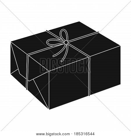 Postal parcel.Mail and postman single icon in black style vector symbol stock illustration .