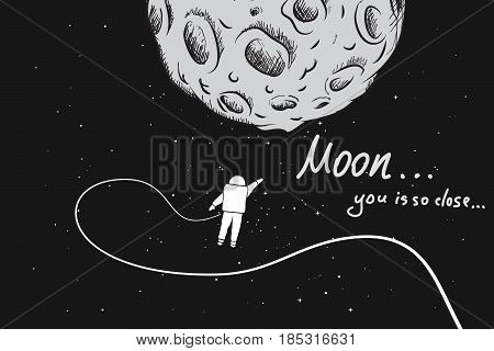 Astronaut travels to the moon.Hand drawn scientific vector illustration