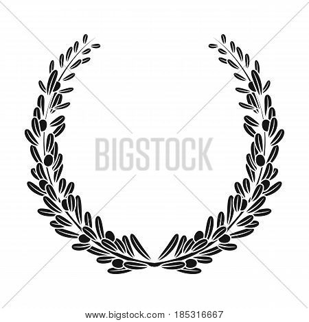 Wreath from olive branches.Olives single icon in black style vector symbol stock illustration .