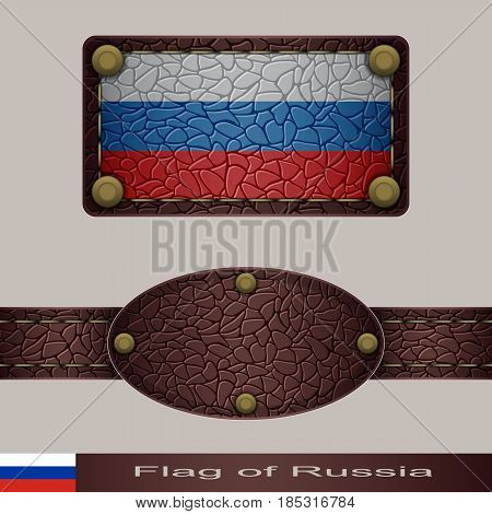 Label of a flag of Russia. Set stylized as leather of objects.
