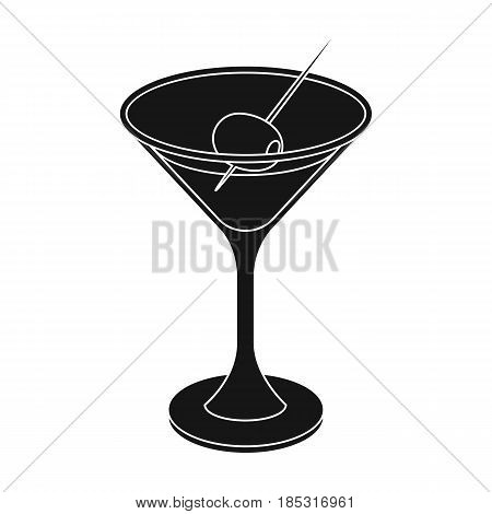 A glass of alcohol with olive.Olives single icon in black style vector symbol stock illustration .