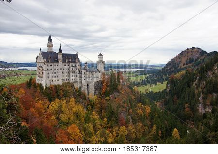 Full view of the beautiful Neuschwanstein castle, Bavaria, Germany