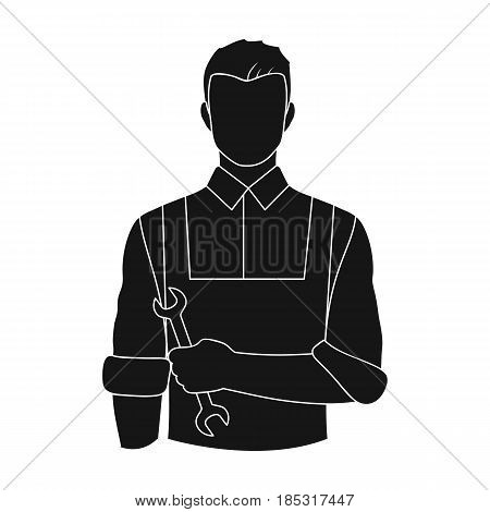 Fitter mechanic.Professions single icon in black style vector symbol stock illustration .