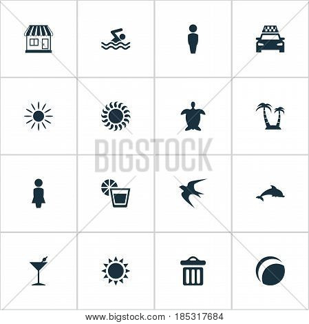 Vector Illustration Set Of Simple Seaside Icons. Elements Beverage, Taxi, Swimming Man And Other Synonyms Aquatic, Taxi And Freedom.