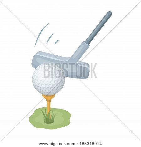 Ball and putter for golf.Golf club single icon in cartoon style vector symbol stock illustration .